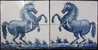 Wonderful pair of Frisian Harlingen hand decorated glazed tile panels, horses.