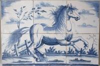 Wonderful Frisian Makkum hand decorated glazed tile panel, horse.