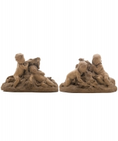 Two Small Terracotta 'Bozzetti' Signed Claude Michel called Clodion