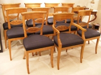Large set of 12 Dutch Empire elmwood diningchairs.