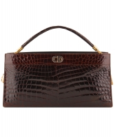 Vintage Christian Dior Brown Croco Leather Shoulder Bag
