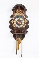 A rare Dutch Geldern polychrome wall clock, Spraekel, circa 1770