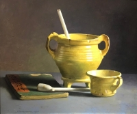 Still-life with 17th century Yellow bowl and cup