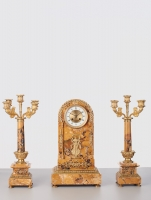 Brown Marble Clock with Candle Holders