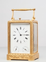A French 3 dial 'one piece case' travelling clock, attributed to Bolviller, circa 1840