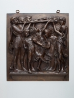 Bronze high relief wall decoration from trompeting group of children