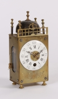 An attractive French miniature brass table lantern alarm timepiece, circa 1780