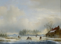 Winterlanscape with figures (Farmhouse on the right side)