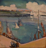 Harbour with sailingboats and figures (Belgium)