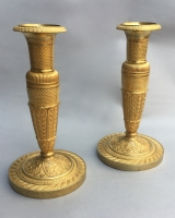 Pair small Empire candlesticks