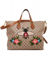 Gucci Supreme Monogram Embroidered Bee Soft Tote