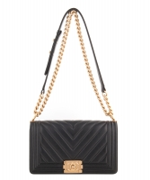 Chanel Black Chevron Quilted Medium Boy Bag - Chanel