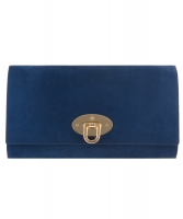 Mulberry Blue Suede Oversized Ava Clutch