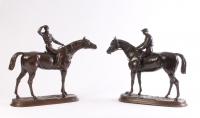 A pair of patinated bronze jockeys, by Jules Moigniez, circa 1870