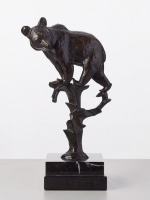 A German bronze art-deco sculpture of a bear in a tree by Anton Bushelberger, circa 1920