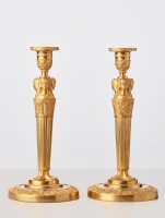 A good strong pair of French 'Empire' candle sticks, circa 1820