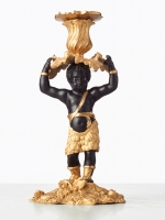A charming French 'blackamoor' candlestick with young boy, circa 1880