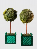 A striking pair of Russian malachite planters, circa 1980