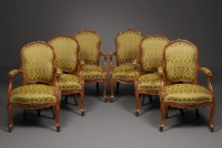Six French Transitional Armchairs