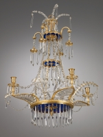 German four-light Chandelier, Dresdner Spiegelmanufaktur