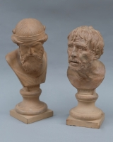 Terracotta busts of Plato and Seneca by Giovanni Mollica