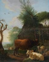 Landschap met koeien, schapen en een geit