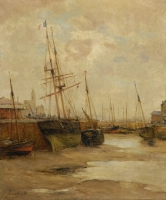 Fall dry harbour with ships (Pendant Ships in harbour)