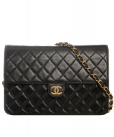 Vintage Chanel Black Classic Single Flap Bag