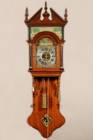 A rare small Dutch Frisian maddered oak Burgomaster wall clock, dated 1836