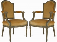A pair of Louis XVI Patinated Fauteuils