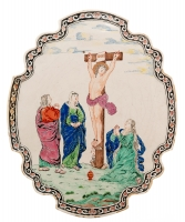 A Dutch Delft Biblical Wallplaque with The Crucifixion in 'Petit Feu'