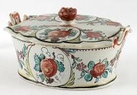 """A Polychrome """"Petit-Feu"""" Terrine in Dutch Delftware"""