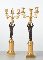 A pair of French gilt candlesticks with patinated bronze angels, circa 1820