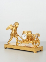 A Viennese bronze guilded miniature Empire mantel clock, circa 1810