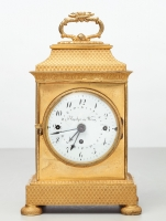 A small Vienna bronze gilt travelling clock by Tobias Flaschge, circa 1810