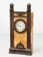A German 'Art Deco' bronze and marble mantel clock by Junghans, circa 1920