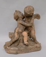 Terracotta group of Cupid and Psyche