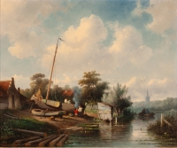 Riverlandscape with a shipyard - Charles Leickert