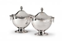 Pair of silver chestnut vases