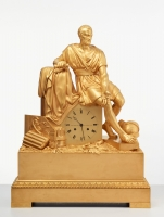 A large French Empire bronze 'Horatius' mantel clock, circa 1820