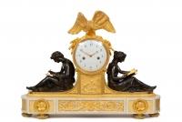 A large French ormolu and bronze Louis XVI mantel clock study, Piolaine circa 1790