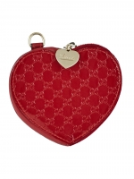 Gucci Red Microguccissima Patent Leather Heart Coin Purse - Gucci