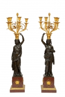A large pair of French Louis XVI bronze candelabra, François Remond, circa 1800