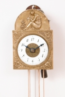 A rare German Black Forest miniature Sorg wall clock with alarm, circa 1840