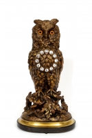 A rare French patinated bronze 'owl' mantel clock, circa 1880