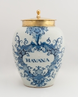 A Tobaccojar in Blue Delftware with Brass Cover