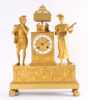 A good French Charles X ormolu sculptural mantel clock, circa 1825.
