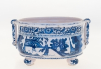 A Blue and White Delft Oval Bassin