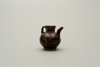 Small Chinese stoneware ewer covered with a dark brown glaze with pale flecks imitating tortoiseshell