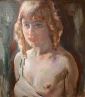 Blond girl, half nude